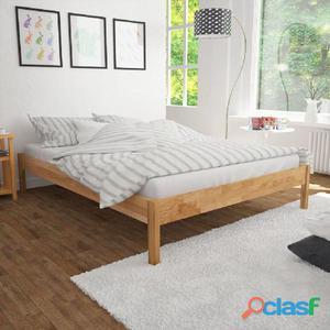 Cama de matrimonio con colchón 140x200cm madera roble