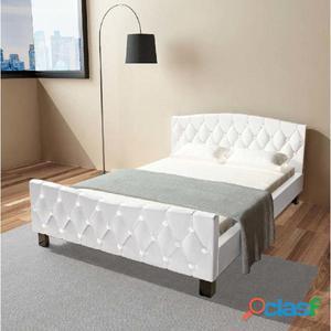 Cama matrimonio con colchón viscoelástico 140x200 blanca