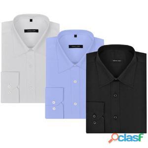 Camisas de vestir hombre 3 uds XL blanco/negro/azul claro