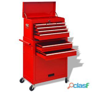 Carrito-caja de herramientas 6 cajones acero rojo