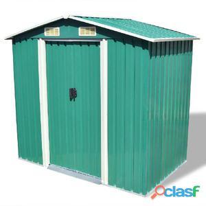 Caseta de jardín metal 204x132x186 cm verde