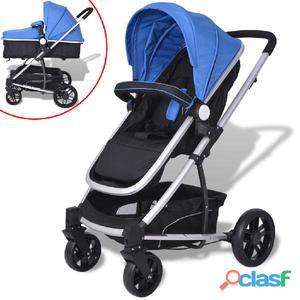 Cochecito/Silla de bebé 2 en 1 aluminio azul y negro