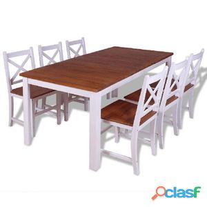 Conjunto de comedor 7 piezas madera maciza teca y caoba