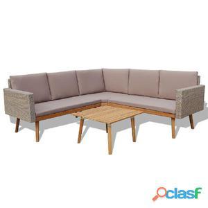 Conjunto de sofás jardín 13 piezas poli ratán gris