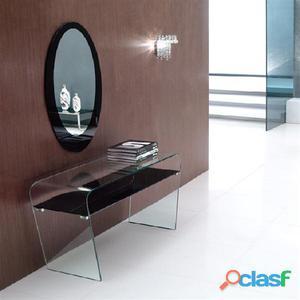 Consola Lauren de cristal curvado con espejo