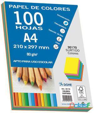 Dohe Paquetes 100 Hojas Colores Fuertes A4 80 Gr. 280 gr