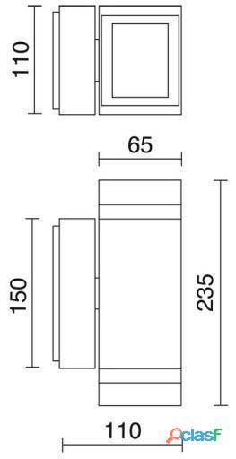 Dopo Aplique Pared Anibal Ip44 Gu10 2x35W Gris 1.3 kg