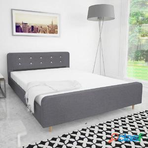Estructura de cama 140x200 cm tapizado tela gris claro