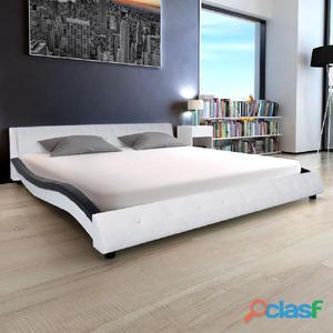 Estructura de cama 180x200 cm cuero artificial blanca y