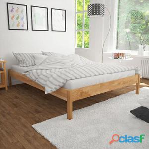 Estructura de cama 180x200 cm roble macizo natural
