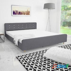 Estructura de cama 180x200 cm tapizado tela gris claro