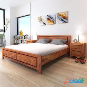 Estructura de cama madera maciza acacia marrón 180x200 cm