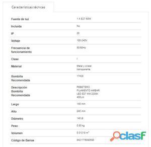 Faro Bcn Colgante Liz-2 Oro Envejecido E27 60W 800 gr