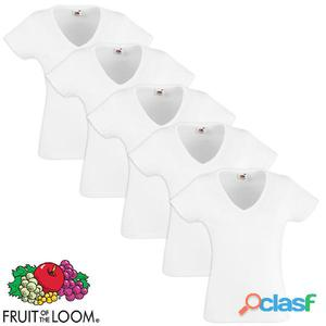 Fruit of the Loom Camiseta de mujer cuello en pico blanca L