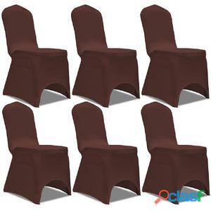 Funda de silla elástica 6 unidades marrón