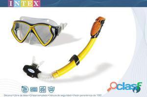 Intex Set Buceo Mascara Y Tubo Silicone Aviator Pro Swim +8A