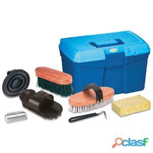 Kerbl Caja de aseo para caballos con 7 herramientas azul