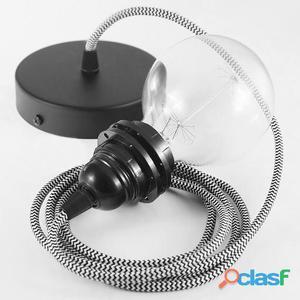 Koziol Cable para lámpara de techo E27 2m zig zag negro y