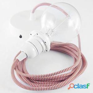 Koziol Cable para lámpara de techo E27 2m zig zag rojo y
