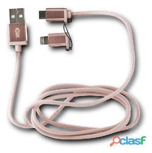 Ksix Cable datos cargador 2en1 micro usb rosa