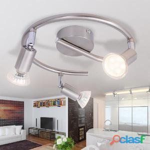 Lámpara de techo con 3 focos LED níquel satinado