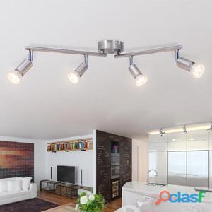 Lámpara de techo con 4 focos LED níquel satinado