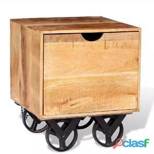 Mesa auxiliar con cajón y ruedas madera de mango 40x40x45