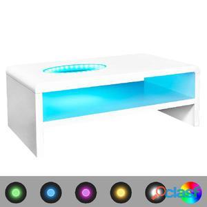 Mesa de centro con LED blanco brillante 105x55x42 cm