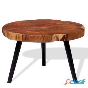 Mesa de centro tronco madera maciza acacia (55-60)x40 cm