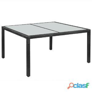 Mesa de comedor para exterior poli ratán 150x90x75 cm negra