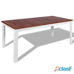 Mesa de comedor teca maciza y caoba 180x90x75 cm