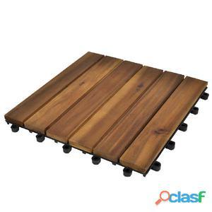 Set 30 baldosas de acacia con modelo vertical, x cm