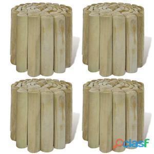 Set 4 piezas bordura de madera para el césped, 250 x 20 cm