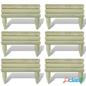 Set 6 piezas bordura de madera horizontal para el césped,
