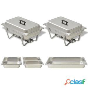 Set calentador de comida para buffet 2 piezas acero