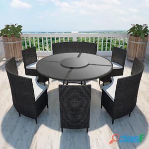 Set mesa redonda con 12 sillas de poliratán, Negro