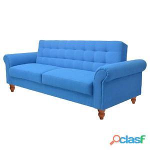 Sofá cama de tela azul