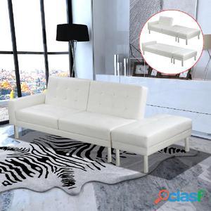 Sofá cama reclinable de piel sintética, Blanco