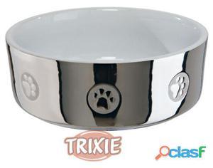 Trixie Comedero Cerámico Diseños Plata-Blanco T-2