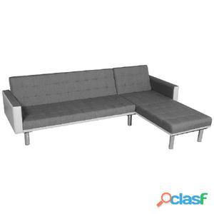 VidaXL Sofá cama en forma de L tela blanco y gris