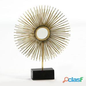 Wellindal Figura 48x14x63 Metal Oro y Marmol Negro 7.5 kg
