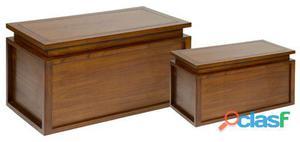 Wellindal Juego de 2 baúles en madera 30 kg