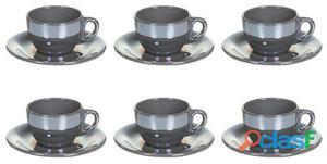 Wellindal Juego de 6 Tazas té con p lustre gris