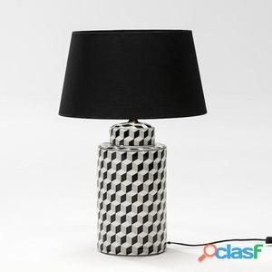 Wellindal Lámpara Sobremesa 23x51 Ceramica Negro y Blanco y