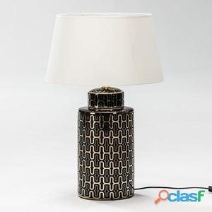 Wellindal Lámpara Sobremesa 23x51 Ceramica Negro y Dorado