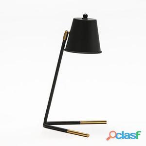 Wellindal Lámpara Sobremesa 24x24x39 Metal Negro y Dorado