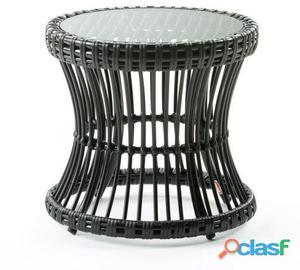 Wellindal Mesa Auxiliar Aluminio y Sintetico Negro y Cristal