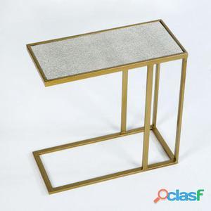 Wellindal Mesa Auxiliar Metal Oro y Espejo Envejecido 5.4 kg