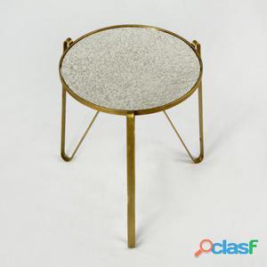 Wellindal Mesa Auxiliar Metal Oro y Espejo Envejecido 8.1 kg