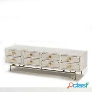 Wellindal Mueble Tv 160x45x50 Metal Oro y Madera Blanco 8